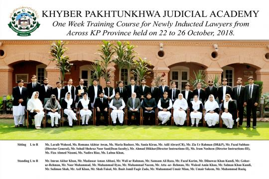 One-week training for Newly Inducted Lawyers from across KP Province (22-26 October, 2018)